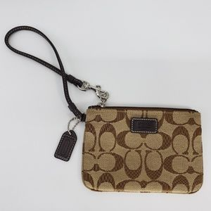 Coach Brown Signature Small Skinny Wristlet